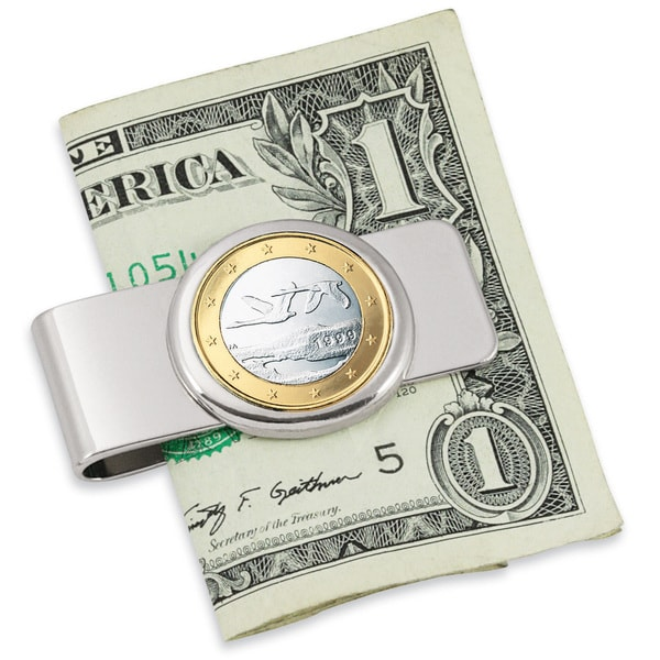'Finland Swan' Euro Coin Silvertone Money Clip