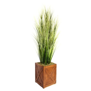 Laura Ashley 69-inch Tall Onion Grass with Twigs in Fiberstone Planter