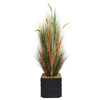 Laura Ashley 66-inch Tall Onion Grass with Cattails in Fiberstone Planter