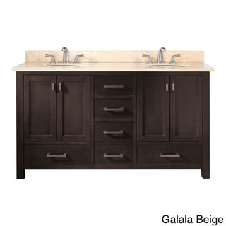Avanity Modero 60-inch Double Vanity in Espresso Finish with Dual Sinks and Top