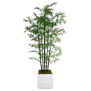 Laura Ashley 78-inch Tall Black Bamboo Tree in Fiberstone Planter