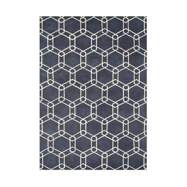 Alliyah Handmade Charcoal Grey New Zealand Blend Wool Rug (5' x 8')