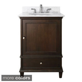 Avanity Windsor 24-inch Single Vanity in Walnut Finish with Sink and Top