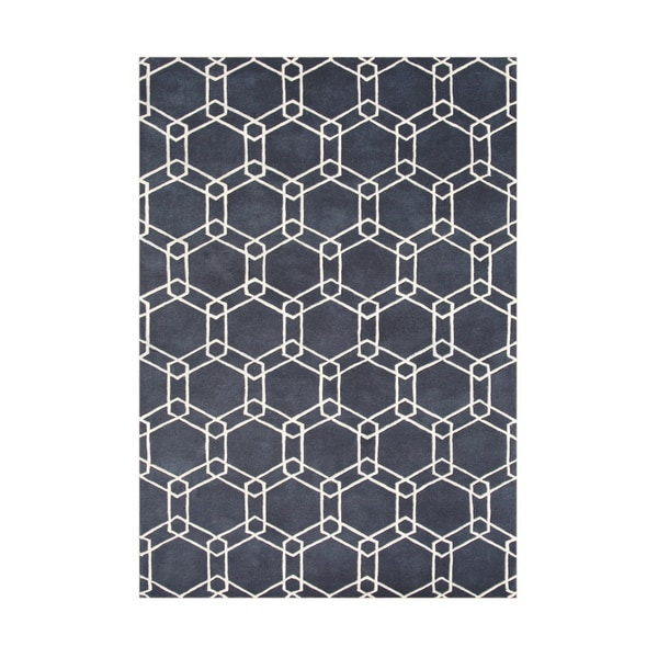 Alliyah Handmade Charcoal Grey New Zealand Blend Wool Rug (8' x 10')