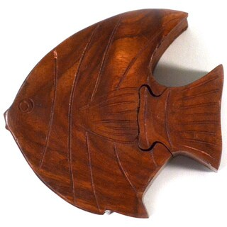 Handcrafted Wooden Fish Puzzle Box (India)