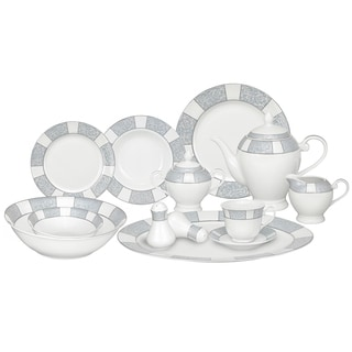 Silver Accent Porcelain Dinnerware Set (57-piece)