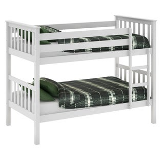 White Painted Solid Wood Single Bunk Bed