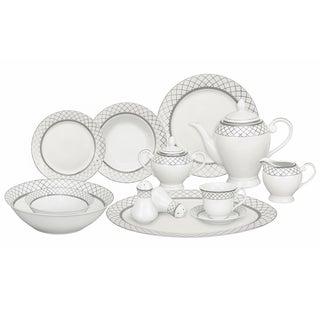 Silver Accent Porcelain Dinnerware Set (57-piece)
