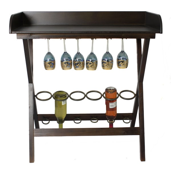 Casa Cortes 6-bottle Wood Wine Rack And Entertaining Table - 15727567 ...