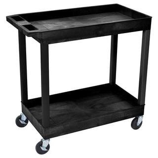 Luxor High Capacity 2-Shelf Black Tub Cart