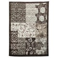 Lexington 440 Chocolate Color Block Floral Design Rug (5 x 7)