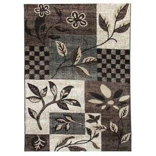 Lexington 444 Chocolate Floral Leaves Design Rug (5 x 7)
