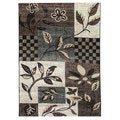 Lexington 444 Chocolate Floral Leaves Design Rug (5 x 7)