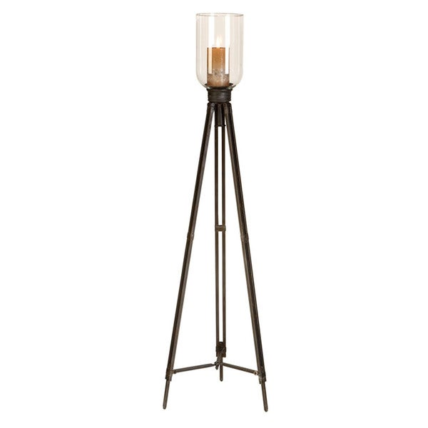 Antiqued 50-inch Indoor/Outdoor Tripod Floor Standing Candle Holder with Clear Glass Top
