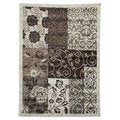 Lexington 440 Champaign Color Block Floral Design Rug (5 x 7)