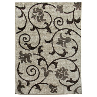 Lexington Champaign 437 Floral & Swirly Vine Design Rug (5 x 7)