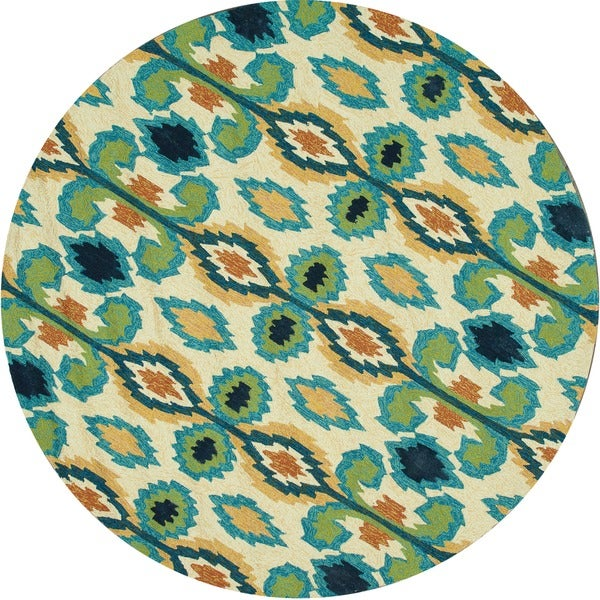 Indoor/ Outdoor Hand-hooked Portia Ivory/ Blue Rug (7'10 x 7'10)