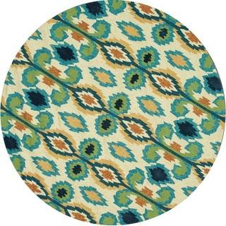 Indoor/ Outdoor Hand-hooked Portia Ivory/ Blue Rug (7'10 x 7'10)