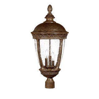 Fleur-de-lis Collection Post-mount 3-light Outdoor Black Coral Light Fixture