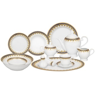 Lorren Home Trends Gold and Blue Accent 57-piece Porcelain Dinnerware Set