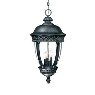 Fleur-de-lis Collection Hanging Lantern 4-light Outdoor Stone Light Fixture