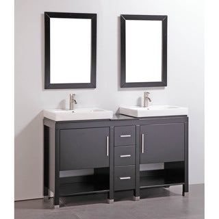 Granite Top 60-inch Double Sink Bathroom Vanity with Matching Dual Mirrors