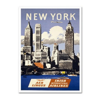 Vintage Apple Collection 'Trav NY Aer Lingus' Canvas Art
