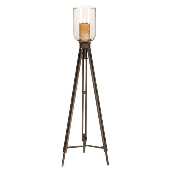 Antiqued 42-inch Indoor/Outdoor Tripod Candle Holder with Clear Glass Top