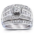 Annello 14k White Gold 1 1/10 ct TDW Round Diamond 3-piece Bridal Set (H-I, I1-I2)