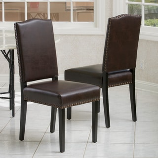Christopher Knight Home 'Brunello' Brown Leather Dining Chair (Set of 2)