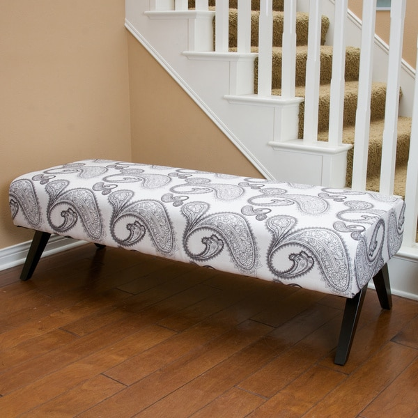 Christopher Knight Home Stella Grey/White Fabric Bench