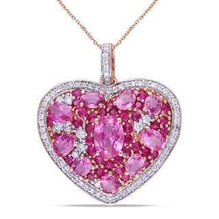 Miadora 14k Rose Gold Pink Sapphire 2/5ct Diamond Heart Necklace (G-H, SI1-SI2)