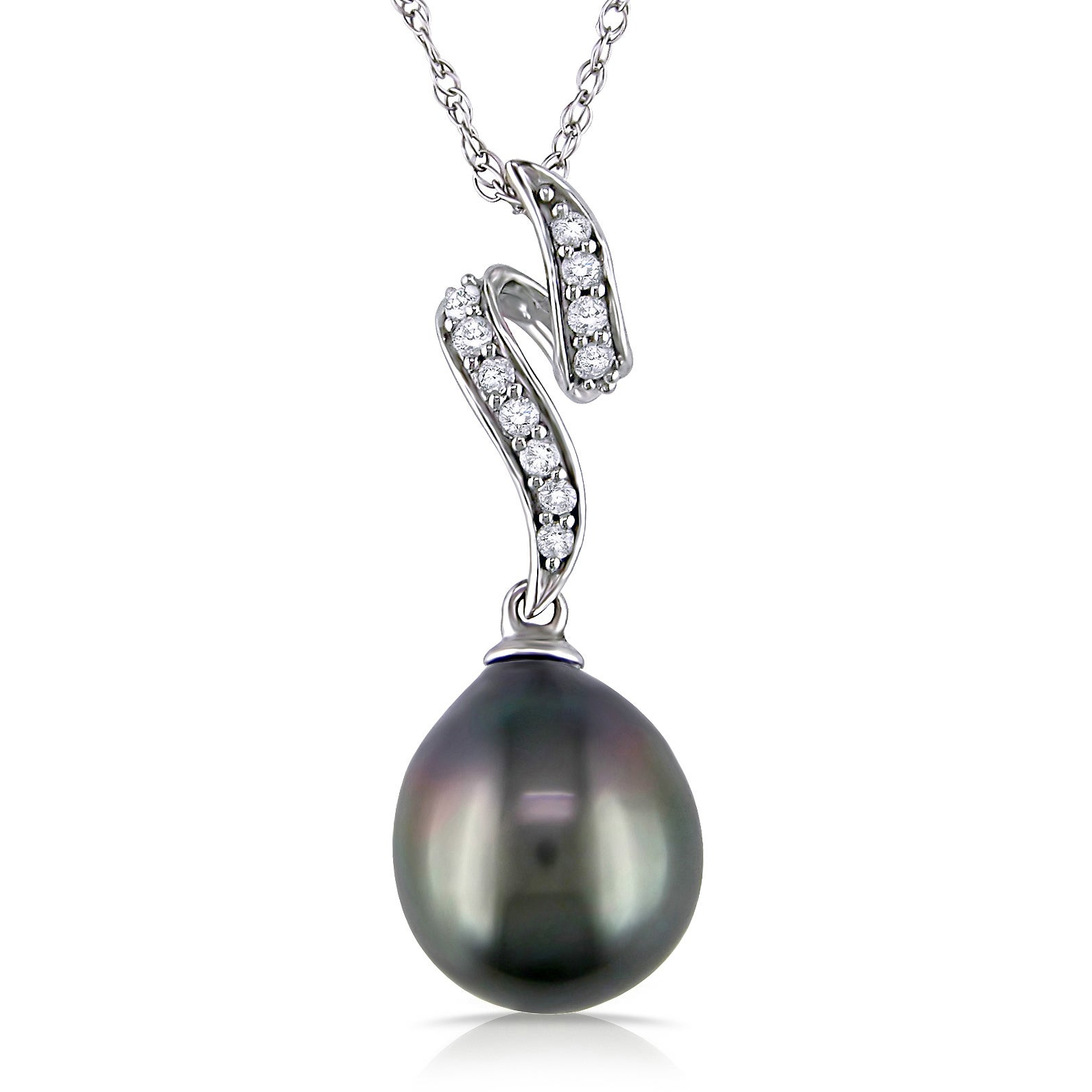 Miadora 10k White Gold Black Tahitian Pearl and 1/10ct Diamond Necklace (H-I, I2-I3) (9-9.5 mm) at Sears.com