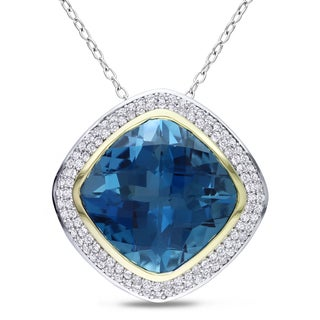 Miadora Sterling Silver and 14k Yellow Gold Blue Topaz 1/2ct Diamond Necklace (G-H, I1-I2)