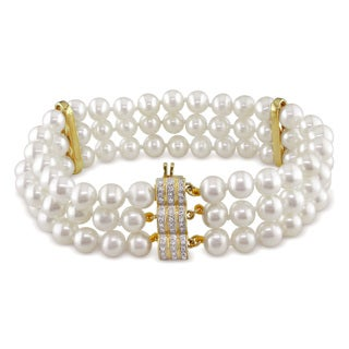Miadora 14k Yellow Gold Pearl and 3/8ct TDW Diamond Bracelet (G-H, I1-I2) (6-6.5 mm)