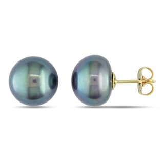 Miadora 14k Yellow Gold Black Cultured Freshwater Pearl Stud Earrings (11-12 mm)