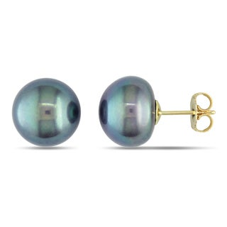 Miadora 14k Yellow Gold Black Pearl Stud Earrings (11-12 mm)