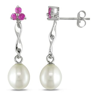 Miadora 14k White Gold Cultured Freshwater Pearl and Pink Sapphire Flower Earrings (8-8.5 mm)