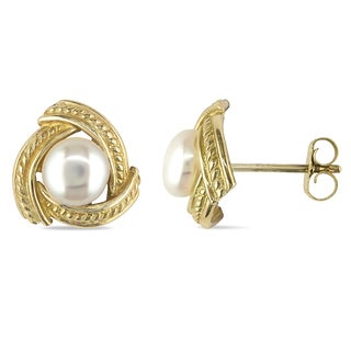 Miadora 10k Yellow Gold White Cultured Freshwater Pearl Stud Earrings (5-5.5 mm)