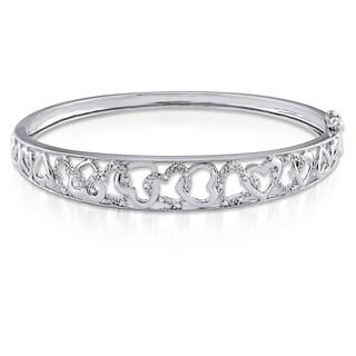 Haylee Jewels Sterling Silver 1/10ct TDW Diamond Bangle Bracelet (H-I, I2-I3)