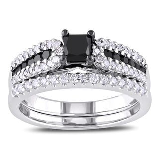 Miadora Sterling Silver 1ct TDW Black and White Diamond Ring Set (H-I, I2-I3) with Bonus Earrings