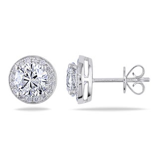 Miadora 14k White Gold 2 2/5ct TDW Diamond Halo Stud Earrings (F-G, I1-I2)