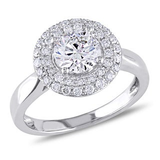 Miadora 14k White Gold 1 1/3ct TDW Certified Round Halo Diamond Ring (G-H, SI1-SI2)