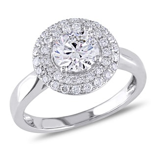 Miadora Signature Collection Signature Collection14k White Gold 1 1/3ct TDW Certified Round Halo Diamond Ring (G-H, SI1-S