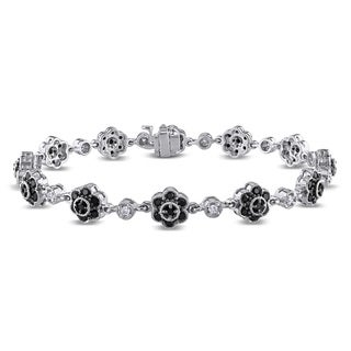 Miadora 14k White Gold 1 1/2ct TDW Black and White Diamond Flower Bracelet (G-H, SI1-SI2)