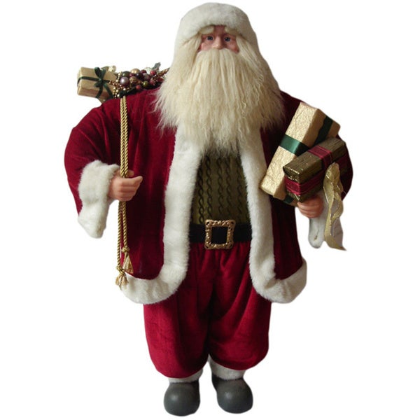 Traditional Standing Red Suit Santa Holding Presents and Gift Bag