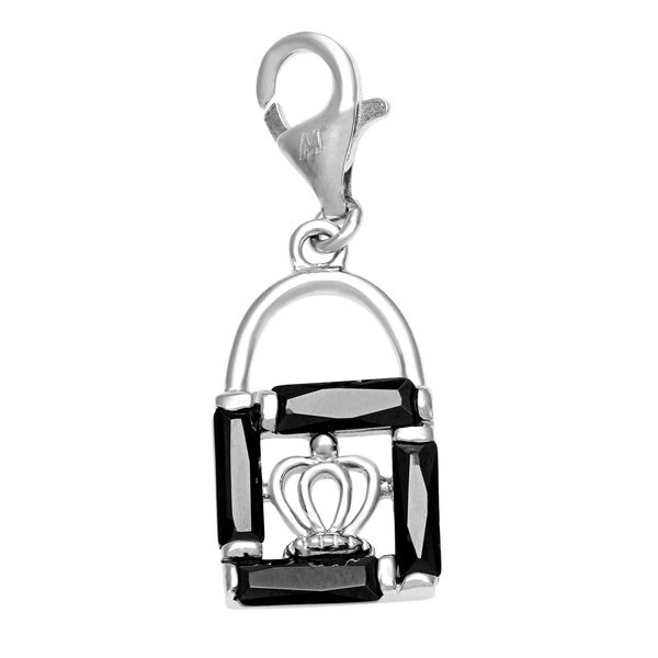 Rhodium Over Sterling Silver Black Cubic Zirconia Charm