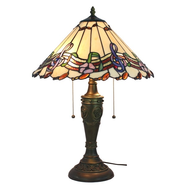 musical notes amora lighting tiffany style table lamp 15727805. Black Bedroom Furniture Sets. Home Design Ideas