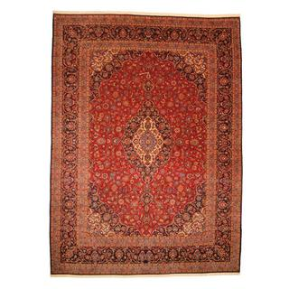 Persian Hand-knotted Kashan Red/ Navy Wool Rug (9'9 x 13'4)