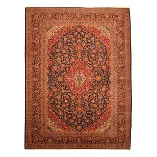 Persian Hand-knotted Kashan Navy/ Red Wool Rug (10'3 x 13'7)